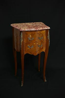Louis XV style side table with marble top and marquetry wood work.