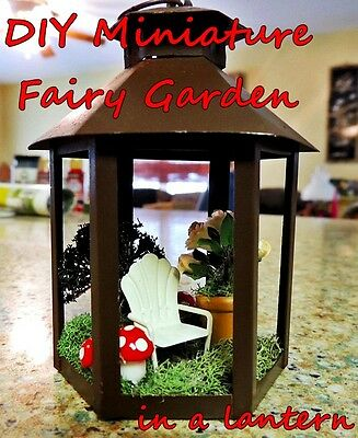 MINIATURE DIY FAIRY GARDEN LANTERN KIT w/ MUSHROOMS, FLOWERS, TREE & LAWN CHAIR