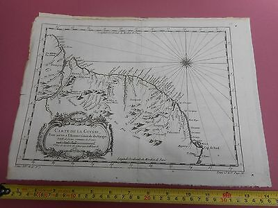 100% Original Chart Of Coast Of Guyana Map By Bellin  C1770 Vgc