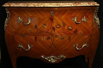 ORIGINAL LOUIS XVI STYLE FRENCH COMMODE, with marquetry work and marble top !!