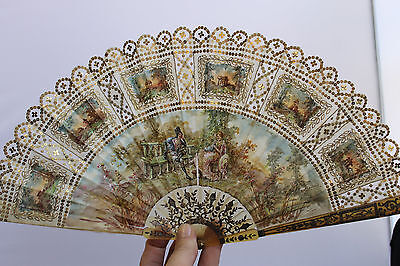 Antique French Hand Painted Fan Inlaid