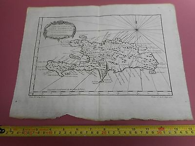 100% Original Chart Island Of St Domingue  West Indies Map By Bellin  C1770 Vgc