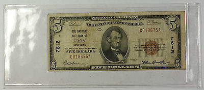 Series 1929 Type 1 $5 National Currency Banknote Troy New York Charter # 7612