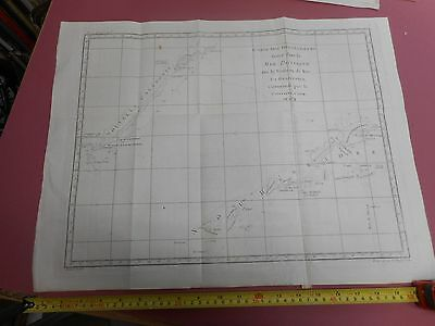 100% Original Large Chart New Caledonia Captain Cook Map By Bellin  C1770 Vgc