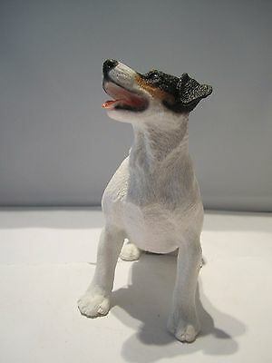 Jack Russell figure dark sitting ornament model hand made in Italy Castagna new