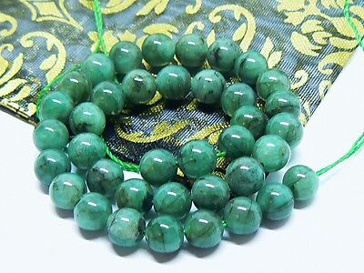 "RARE NATURAL GREEN BRAZILIAN EMERALD ROUND BEADS 5-5.25mm 7.9"" STRAND 29.5ctw"