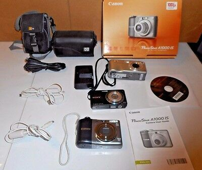 LOT of 3 digital cameras Untested CANON Power Shot A1000 SONY Cybershot HP
