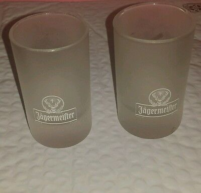 2 Jagermeister White Frosted Shot Glasses 2-4 cl ARC Lot
