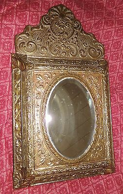 """Antique Victorian Era Repousse Gold Metal Cushioned Mirror Beveled Glass 26""""X15"""""""