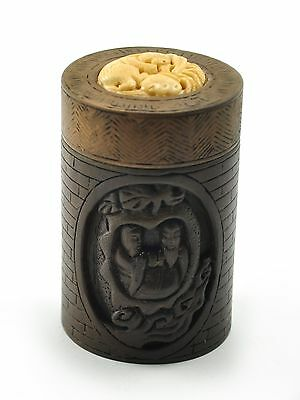 Vintage Chinese Natural Wood Bone Hand Carved Round Treasure Box