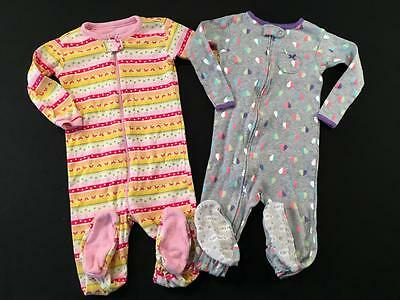 Girls Carters 18 Months One Piece Cotton Pajamas Sleepers Lot G5 Free Ship