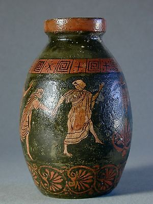 RARE POTTERY JAR w/ ANCIENT GREEK STYLE PAINTING + YELLOW CRACKLED GLAZE INSIDE
