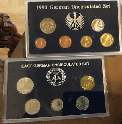 1990 German Uncirculated 6 Coin Set & East Germany Unc 6 Coin Set 1982-1990