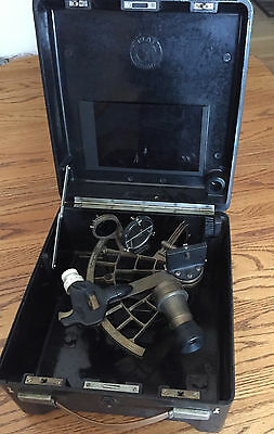 VINTAGE 2 Set C. PLATH MARINE Nautical SEXTANT 4 X 40 Telescope Germany w/ Case