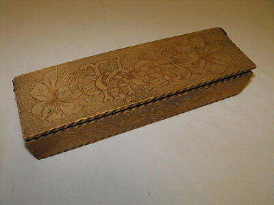 Vintage Antique Wizard Pyrography Wooden Neck Tie Box Neat Old Item