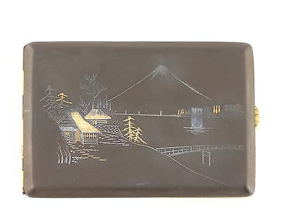 Vintage Japanese Iron Gold Silver Damascene Mt Fuji Signed Cigarette Case