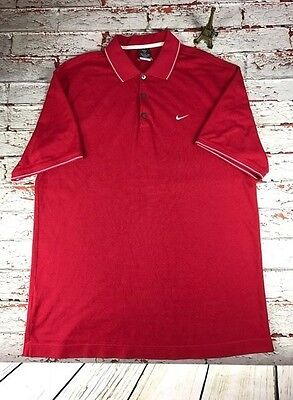 Nike Men's Red Golf Polo Shirt Dri Fit Swoosh Logo Short Sleeve Top Size XL