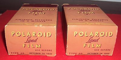 2 Polaroid Land Film Type 40 Expired Dev Oct 14, 1949, for display only.