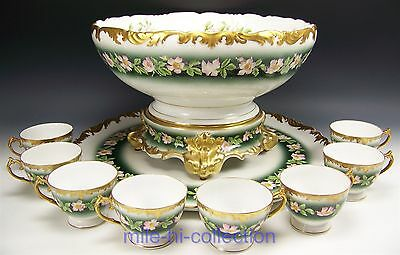 """Lovely Limoges Hand Painted Roses Punch Bowl Base Punch Cups & 18.25"""" Tray Set"""