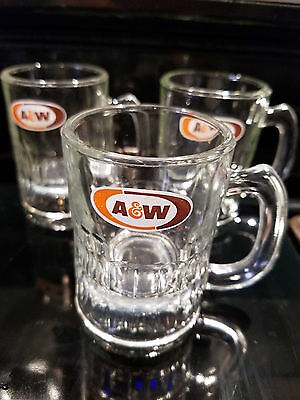 """Lot of 3 Vintage A&W Root Beer Glass BABY  Size Small MUGS 3 1/8"""""""