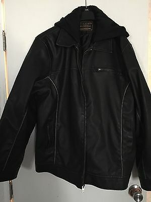 NWT Arizona Jeans Co Men's 2XL Black Leather Hooded Jacket Hoodie