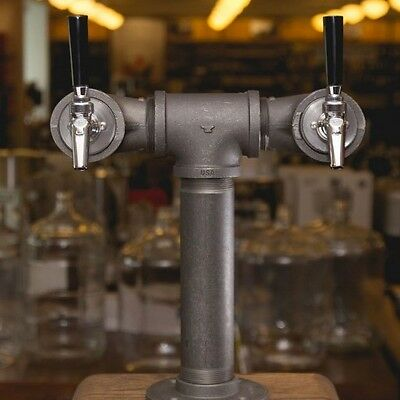 Draft Beer Tower - Black Iron - Double Tap - Perlick 630SS Faucet
