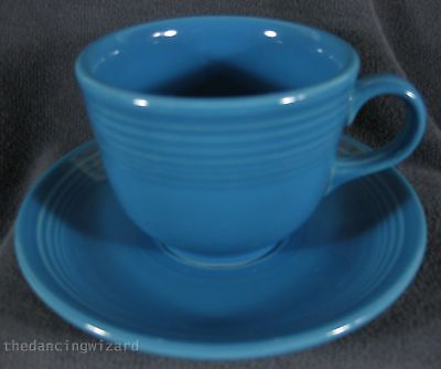 Fiesta Peacock Flat Coffee Cup and Saucer Homer Laughlin China Lead Free
