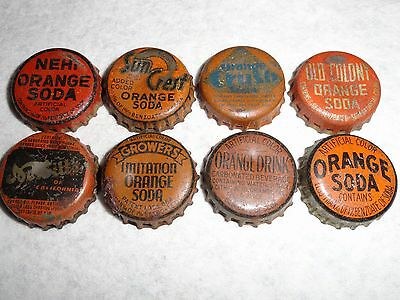 Set Of 8 Vintage Used Orange Soda Bottle Caps