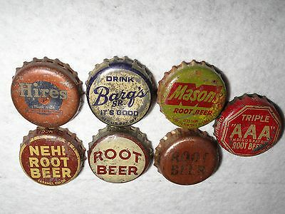 Set Of 7 Vintage Used Root Beer Bottle Caps