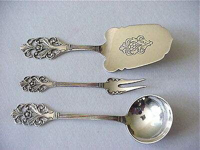 Th Marthinsen Sterling Silver Flatware Serving Pieces Norway Server Fork Spoon