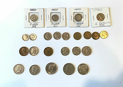 Lot of 24 Greek Coins Various Dates and Denominations Greece