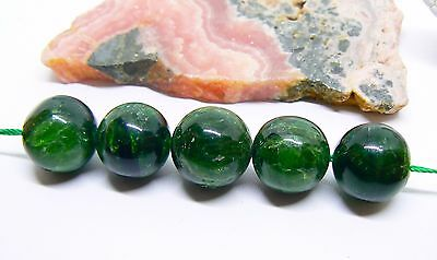 5 RARE NATURAL GREEN CHROME DIOPSIDE ROUND BEADS 13-13.25mmmm 98cts