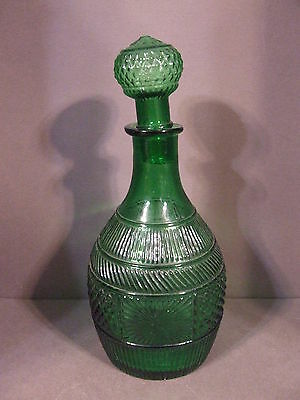 Antique Emerald Green Blown Molded Glass Decanter With Stopper