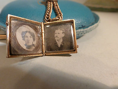 3 Antique Lockets Pendant Gold Filled Chain Necklace