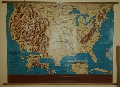 VINTAGE Pull Down School Map of the United States including Alaska and Hawaii.