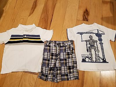 Boys Gymboree Summer Set Size 4 - Polo, Robot T-Shirt and Sorts