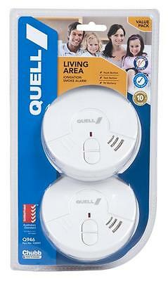 Smoke Alarm Fire Detector Chubb/Quell® Q946 TWIN Ionisation Aus Certified