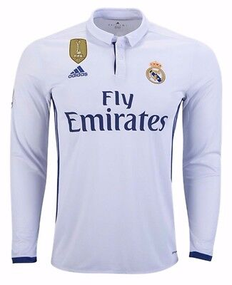 ADIDAS REAL MADRID Long Sleeve Home Jersey 2016 17 Fifa Patch ... 8836fd5d6