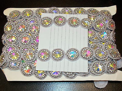 1m silver AB CRYSTAL bead asian indian dance lace bridal wedding APPLIQUE