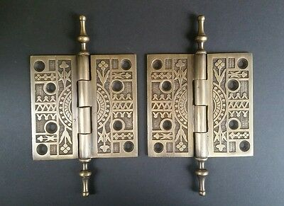"2 Lg. Antique Style Eastlake Solid Brass Door Hinge 4.0"" fancy steeple tips #X15"