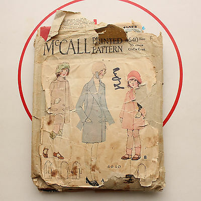 """vintage 1920s McCall sewing pattern girls coat size 6 24.5"""" chest"""