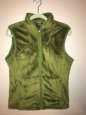 The North Face Osito Zip Pocketed Green Fleece Jacket Vest Women's Large Fuzzy