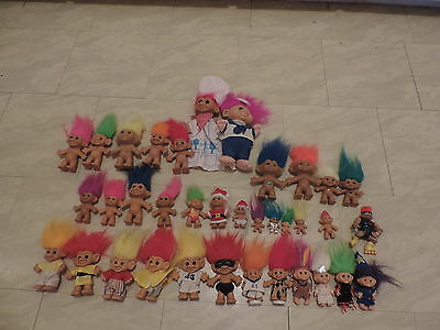 Mixed Lot 36 Troll Dolls Russ, Forest Trolls, Creata and Kyklas, Vintage Trolls