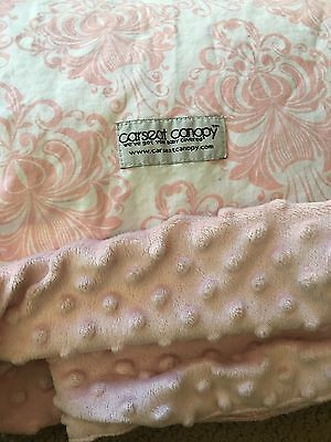 "CARSEAT CANOPY Light Pink & White ""Angelina"" Infant Car Seat Cover EUC"