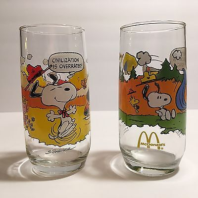 2 Charlie Brown Snoopy Peanuts McDonalds CAMP SNOOPY Drinking Glasses ・ Pair Set