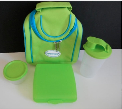 Tupperware Insulated Lunch Bag~Sandwich Keeper~Snack Cup & Tumbler Set Green New