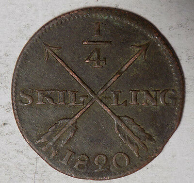Sweden 1820 1/4 Silling Coin