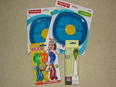 LOT Baby Feeding Spoons & Plates Fisher Price, Nuby & XOX New in Package **L@@K*