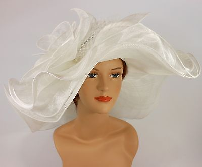New Woman Church Kentucky Derby Wedding Sinamay 3 Layers Dress Hat 3034 White