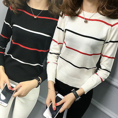 Womens O-neck Striped Sweater Slim Long Sleeve Blouse Tops Knitted Shirt New